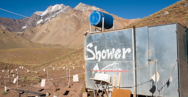 Shower in Aconcagua, Confluencia Camp. Daily Photo #137